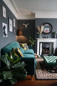 vintage blue living room design ideas you must have 3 Corner Sofa Living Room, Living Room Green, Home Living Room, Living Room Designs, Living Room Decor, Grey Corner Sofa, Sofa Inspiration, Living Room Inspiration, Teal Sofa