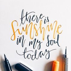 """Enjoying the whimsical lettering style of @elliholi. """"There is sunshine in my soul today"""" #Goodtype #StrengthInLetters by goodtype"""
