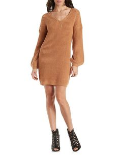 Slouchy V-Neck Sweater Dress by Charlotte Russe - Pale Mauve