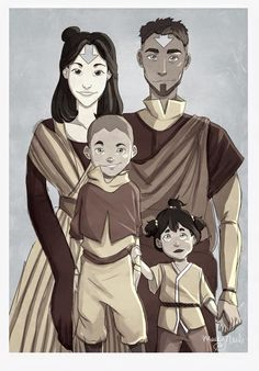 Jinora, Kai and their kids! Another Set of Avatar Fan Arts!