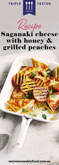 This grilled saganaki cheese recipe is a cheese-lover's dream come true. Served with grilled peaches and drizzled with honey, this simple cheese dish has everything. Cheese Dishes, Cheese Recipes, Saganaki Cheese Recipe, Easy Vegetarian Lunch, Vegetarian Recipes, Grilled Peaches, Turkish Recipes, Lunches And Dinners, Greek