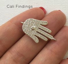 Large Rhodium Plated CZ Hamsa Connector Pave by CaliFindings