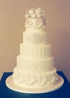 simple elegant wedding cake by The White Flower Cake Shoppe