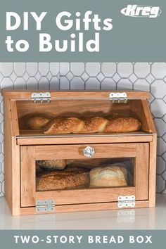This beautiful bread box is the perfect place to store your favorite loaves. The shelf is a built-in cutting board. And the Plexiglas doors mean you can instantly see what you have in stock.