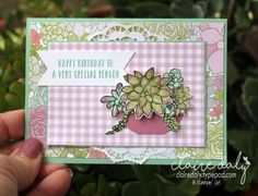 Stampin Up Oh So Succulent birthday card using watercolous pencils. Card by Claire Daly, Stampin' Up! demonstrator Melbourne Australia. More details and links to online store on my blog.