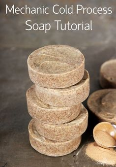 This Mechanic Soap recipe is perfect for removing grease and grime from hands. It's made with natural orange essential oil, walnut shells and pumice.: