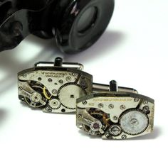 Steampunk Cuff Links Vintage Mechanical Watch Parts Groom Torched Soldered Industrial Men Designed By Mystic Pieces via Etsy