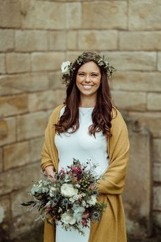 beautiful bride wearing a mustard scarf and holding bohemian wedding flowers for her outdoor wedding elopement in Northumberland. Bohemian Wedding Flowers, Mustard Scarf, Mustard Wedding, Beautiful Bride, Bohemian Style, Wedding Bouquets, Wedding Ceremony, Shawl, Wedding Inspiration