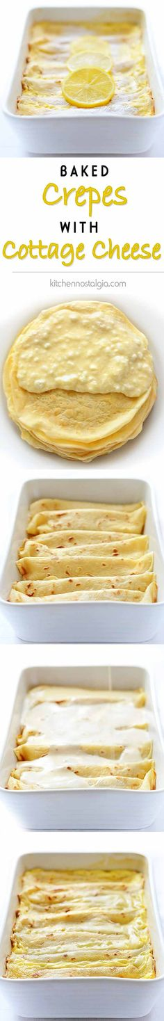 Baked Pancakes with Cottage Cheese - Crepes stuffed with cottage cheese / lemon zest / vanilla filling and sour cream topping; Croatian Palachinka by kitchennostalgia.com (Party Top Sour Cream)