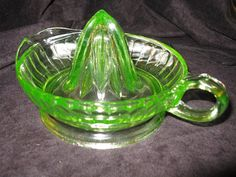 Vintage Depression Green Vaseline Glass Juicer Reamer, Clair , you left it at mommies house