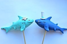 We may have to do this... Sharks In Love wedding cake topper by indigotwinweddings on Etsy, $70.00