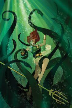 Mera in DC Comics Bombshells - Ant Lucia Comic Book Characters, Comic Book Heroes, Comic Character, Comic Books Art, Book Art, Character Design, Aquaman, Mera Dc Comics, Anime Comics