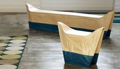 """""""Tailored Wood Bench"""" by Raw Edges for Capellini. Oak veneer filled with foam creates wood seating that looks like crumpled paper."""