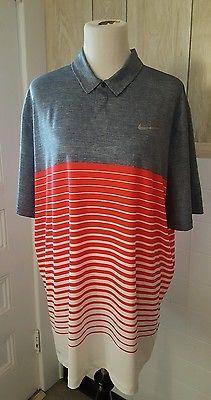 NIKE TIGER WOODS COLLECTION Men's Golf Shirt Grey Orange Striped Sz XL