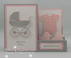 Something for Baby: Side Step Card Baby Girl Cards, New Baby Cards, Fancy Fold Cards, Folded Cards, Side Step Card, Stepper Cards, Congratulations Baby, Shower Bebe, Stampinup
