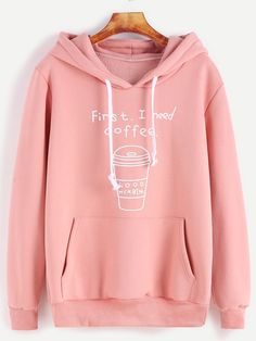 18$  Watch here - http://dis93.justgood.pw/go.php?t=14416 - Pink Printed Drawstring Hooded Sweatshirt With Pocket