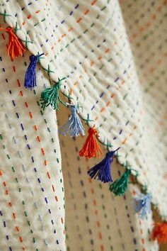 (Tasseled Kantha Throw - Traditional kantha embroidery is created from a running stitch rendered by skilled Indian artisans. Sashiko Embroidery, Japanese Embroidery, Embroidery Stitches, Embroidery Patterns, Hand Embroidery, Sewing Patterns, Indian Embroidery, Hand Quilting Patterns, Embroidery Books