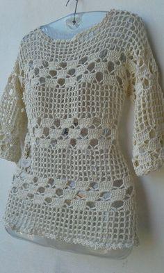 Ganchillo blusas Blouses and Tops woman wearing man's shirt Crochet Shirt, Crochet Motif, Crochet Lace, Crochet Ideas, Crochet Crafts, Easy Crochet, Crochet Woman, Beautiful Crochet, Crochet Edgings