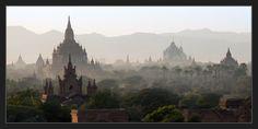 Panorama from Burma   haze, panorama, cathedral