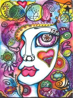 Doodle Doll...Love the colors, the expressive eye, the heart on the cheek (a peek of her soul)...