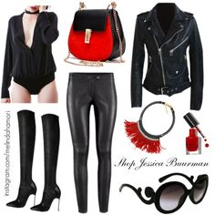 """Jessica Buurman Leather Set"" by melindahamori on Polyvore"