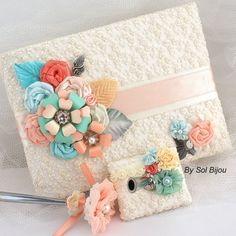 Wedding Guest Book and Pen Set Shabby Chic in Ivory, Blush, Peach, Coral, Turquoise and Seafoam with Lace, Satin, Chiffon and Brooch on Etsy, $130.00