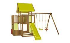 Aire de jeux en bois : 2 balançoires, vis-à-vis, tour, toboggan et bac à sable…