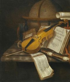 A vanitas still life with a violin, a recorder, and a score of music on a marble table-top by Edward Collier