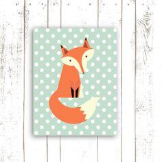 Nursery Art Print - Printable File Fox Wall Art - Instant Download Nursery Art Print - Mint Polka Dots