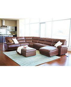 macyu0027s enzo leather sectional sofa power motion 4 piece - Macys Living Room Furniture
