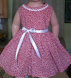 Doll Clothes/Handmade/18 Inches/American Girl Dolls/ Small White Flowers Dress. #Handmade