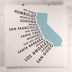 This is your map to some of the finest beaches, sunsets and real estate in the world. All the counties along the Golden State's Pacific Coast are highlighted in this design. Inks screen printed on Fre