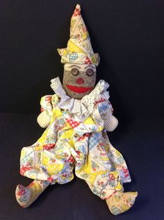 """Vintage """"Sock Monkey"""" Style Clown Hand Sewn Crafted   eBay"""