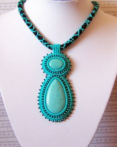 Green Alien - Bead Embroidery Necklace with  Turquoise. $80.00, via Etsy.