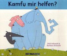 Der Elefant hat es eilig, passt nicht auf und prallt gegen eine Mauer.  Danach ist sein Rüssel ordentlich lädiert und »statt Tära aus der Trompete kommt nur ein Füüt wie aus 'ner Flöte.«Nun sucht er Rat bei anderen Tieren: » Ich bin gefpolpert, hingeflogen und hab den Rüffel mir verbogen. Deffegen komme ich fu dir. Kamfu vielleicht helfen mir?« Herrlich schräger Vorlesespaß! Barbara Schmidt und Dirk Schmidt (Ill.), Kamfu mir helfen? Kunstmann Verlag, ab 4