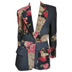 For Sale on - A great jacket from Moschino Couture. It has an alternating pattern of red and gold flowers on velvet with solid black making it quite distinctive. Blazer Fashion, Fashion Outfits, Silk Bomber Jacket, Blazer Jacket, Victorian Gown, Casual Skirt Outfits, Vintage Jacket, Colored Blazer, Ladies Dress Design