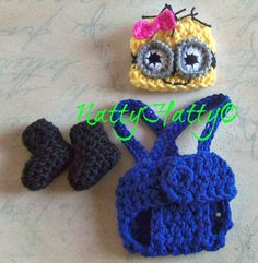 Despicable Me Minion Fot Girl  Crochet Hat,boots and Diaper Cover and bow, Minion Halloween costume, Despicable me minion baby costume