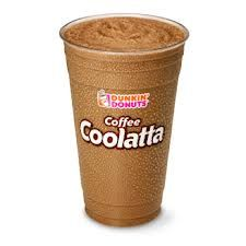 COPYCAT DUNKIN DONUTS COFFEE COOLATTA ---- 1 1/4 cups coffee, made strong  1 cup milk  5 tablespoons granulated sugar  2 tablespoons Hershey chocolate syrup  1 tablespoon Torani hazelnut syrup  1 teaspoon vanilla extract  1/4 teaspoon amond extract  2 1/2 cups ice