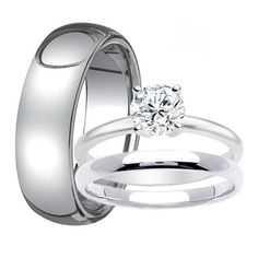 Mens 8mm TUNGSTEN Band for Him & Womens Solitaire Stainless Steel Engagement Ring with Matching Wedding Band His and Hers Wedding Rings Set