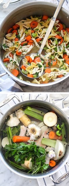 Chicken noodle soup -- one-pot soup starts with a veg-infused homemade chicken broth. Soup Recipes, Chicken Recipes, Cooking Recipes, Healthy Recipes, Chicken Soup, Vegetarian Chicken Noodle Soup, Skinny Recipes, Healthy Options, Goulash
