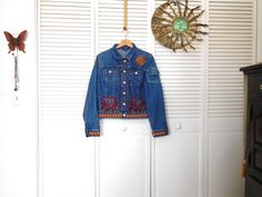 Jean Jacket with Patches Elephant Patches Sugar by LandofBridget