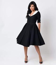 Pin Up Dresses   Pin Up Clothing Unique Vintage 1950s Black  White Sleeved Eva Marie Swing Dress $98.00 AT vintagedancer.com