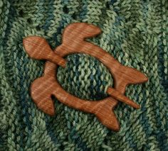 Sea Turtle Shawl Pin  Satinwood by South4th on Etsy, $35.00