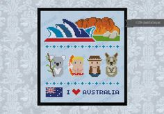 **Australia Icons - PDF cross stitch pattern** This is a super funny pattern for all the Australia lovers, featuring the icons characters and places: the Sydney Opera House and Ayers Rock, and then a koala, a surfer, an explorer (aka Crocodile Dundee) and a kangaroo!  CROSS STITCH PATTERN DETAILS: Stitches: 86x91 Size (with 14 count Aida fabric): 15,5x16,5 cm – 6.1x6.5 in  With purchase, youll receive a DOWNLOAD LINK with: - A PDF pattern with colors and symbols - A Symbol Key page in…