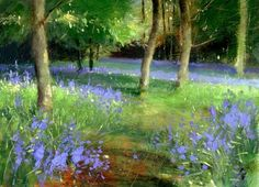 """The Bluebell Trail"" - Original Fine Art for Sale - © Nigel Fletcher"