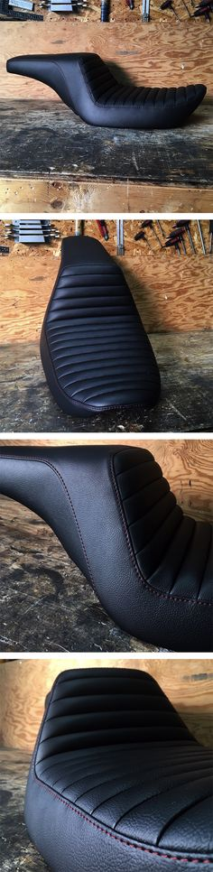 Completely remodelled this original @harleydavidson Dyna seat for @dyna_amsterdam. New shape, new cover, new look.. red topstitch to match with the colour accents on the bike.   #custom #harleydavidson #hd #dyna #tracker #scrambler #caferacer #chopper #choppershit #bobber #motorcycle #silvermachine #seat #grips #caferacerxxx #vintagemotorcycle #caferacerculture #custommotorcycle #caferacers #bratstyle #caferacersofinstagram #vintage #bikersofinstagram #croig