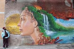 """Murale """"Les étoiles du béton"""" Mural © 2011 MU / Monk.e & Herezy Urban Street Art, Best Street Art, Urban Art, Graffiti Art, Sidewalk Art, Of Montreal, Building Art, Photos, Pictures"""
