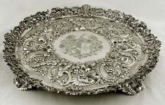 English Sterling Silver Shell, Fruit & Floral Salver Coat of Arms 138 oz Vintage Silver, Antique Silver, Silver Pooja Items, Silver Trays, Silver Platters, Silver Furniture, Coat Of Arms, Silver Jewelry, Sterling Silver