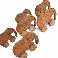 1930's wooden elephant toy souvenir by ElizabethRosenArt on Etsy $15.00