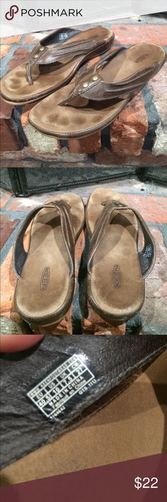 Keen leather upper flip flops size 10 Keen leather upper flip flops size 10.  Cute thong flip flops size 40.5 / 10.  Light brown color.  Super comfortable with some visible wear in photos.  Soles have minimal visible wear. Keen Shoes Sandals